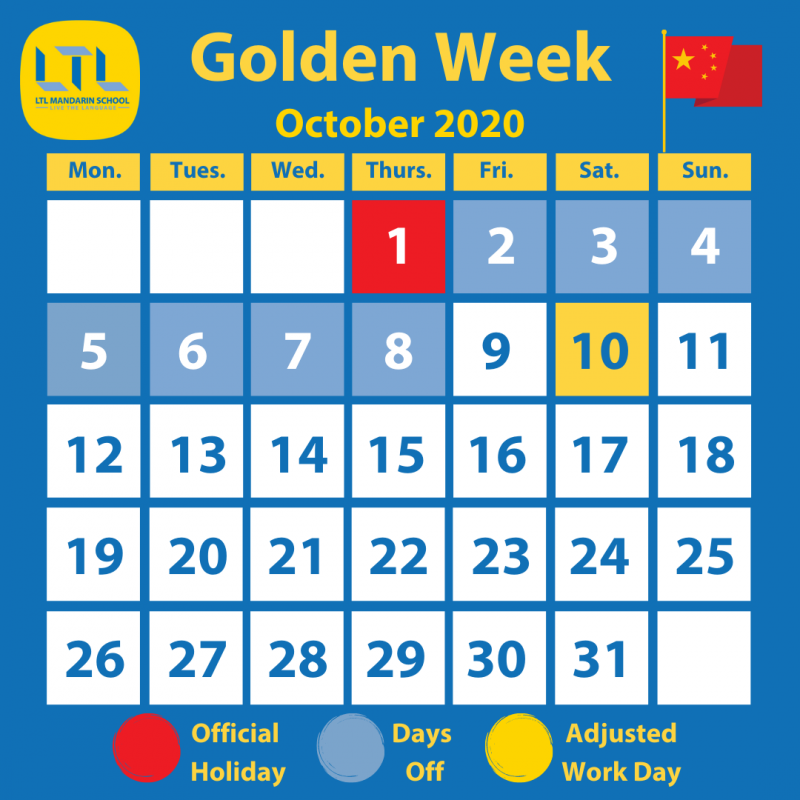 Chinese National Day & Golden Week - Calendar of days off and adjusted days