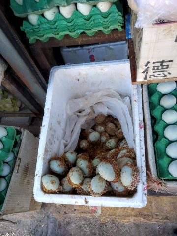 Century eggs at a market in Lijiang