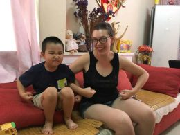 Eowyn with her Chinese Homestay brother in Chengde