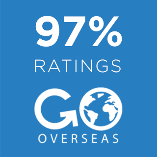 97% rating at gooverseas illustration