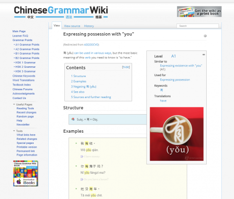 How hard is it to learn Mandarin. Note the Wikipedia-style layout. On this page for the character 有 (yǒu) there are 10 simple examples!