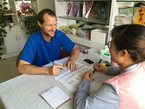 LTL's first student in Chengde, learning Chinese