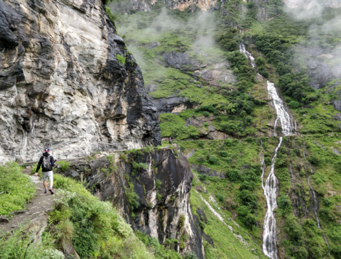 Beautiful waterfalls on Day 2 of the Tiger Leaping Gorge trek