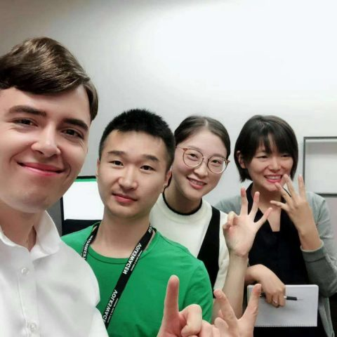 Kevin and his Chinese co-workers during his internship