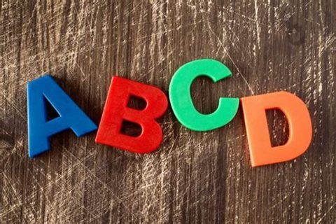 ABCD letters lined up on wooden table