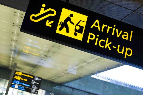 Airport Arrival pick-up sign