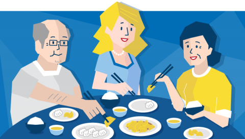 Cartoon, Chinese immersion eating dinner with homestay family