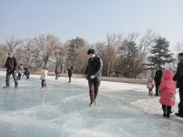 Enjoying the frozen lakes in Chengde Winter