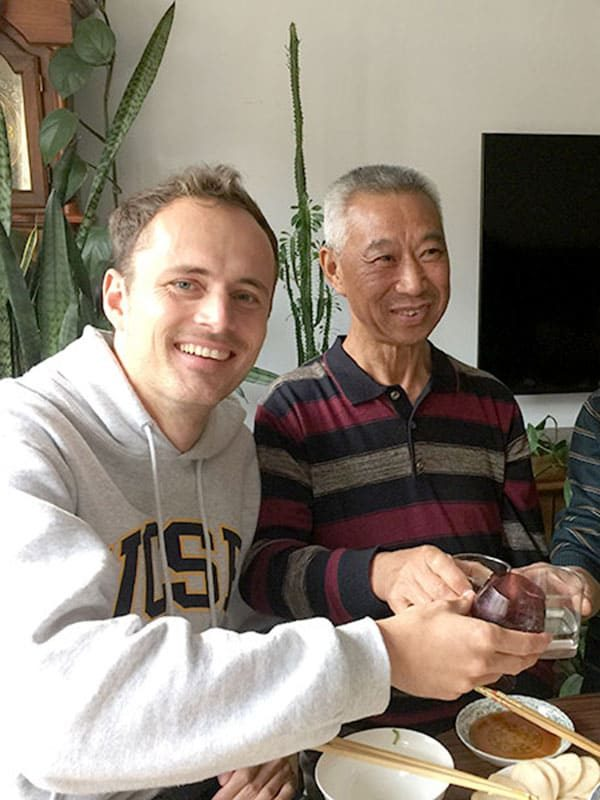 Student Fabian with his homestay father in Chengde China