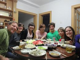 Having Dinner with the Chinese Host Family