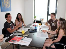 Small group class, four students, at LTL Beijing