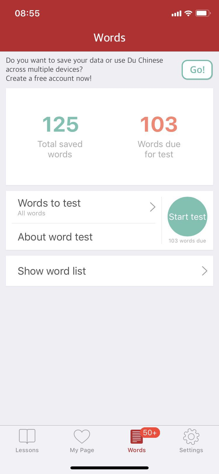 Words to Test