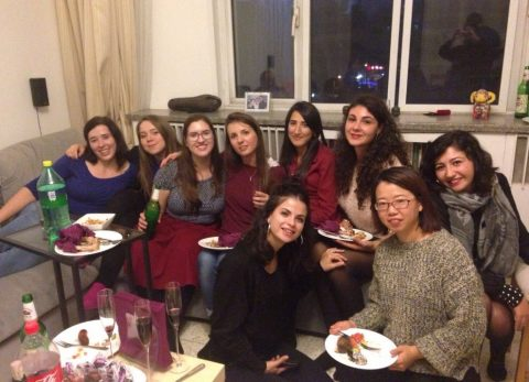 Franzi at a house party with her classmates after Chinese class