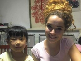 Student and her homestay sister at home in China