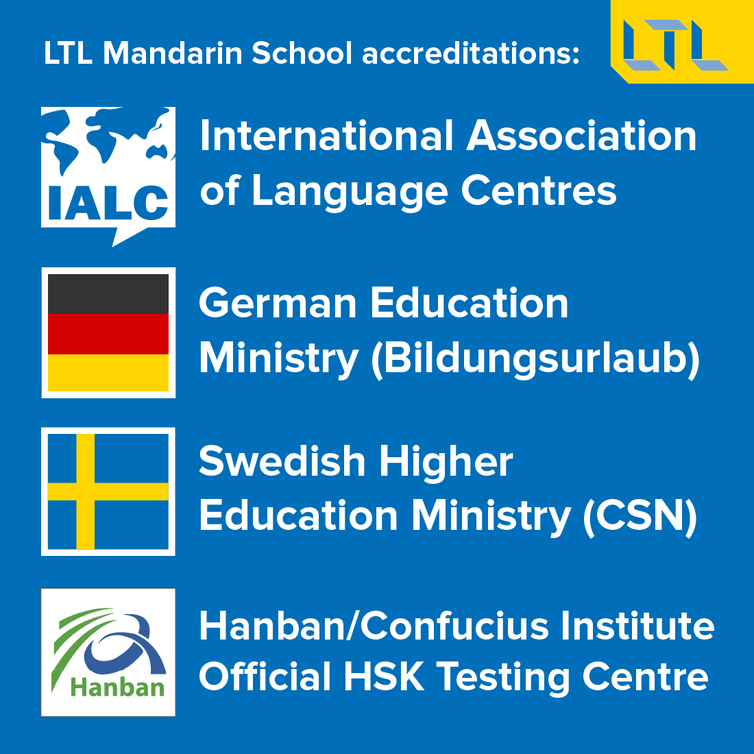 Quick Facts about LTL Mandarin School - Accreditations