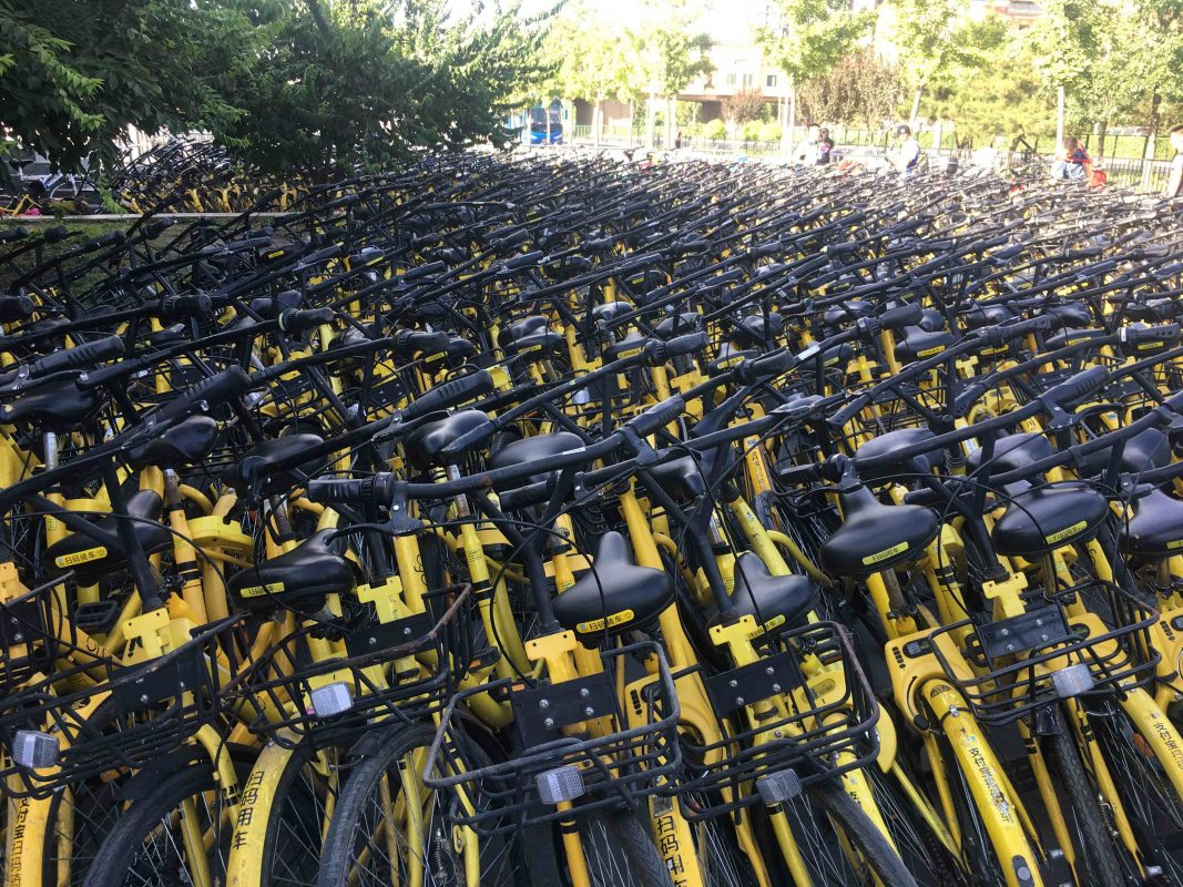 That's a lot of Ofo's. Bikes in China!