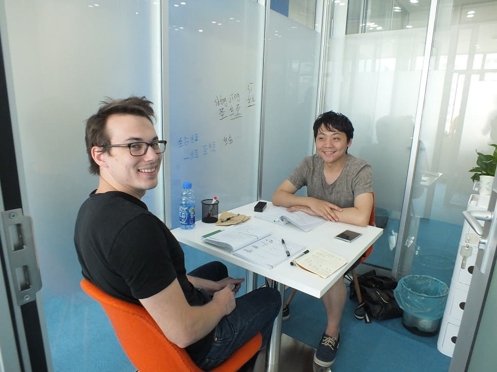 Teacher and student in classroom in Shanghai having an individual class