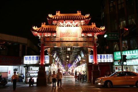 Main gate to Shilin night market in Shanghai
