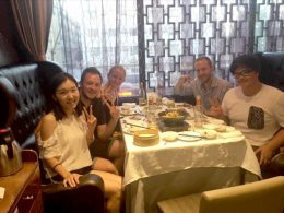 Chinese teacher and students out for dinner together in Beijing