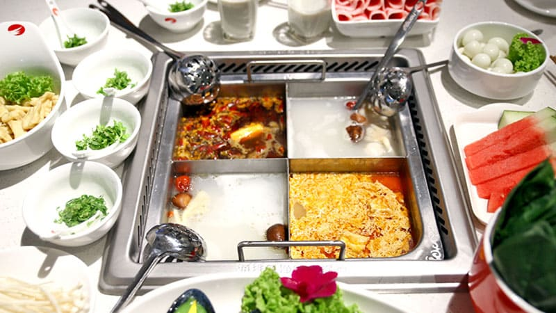 Chinese hot pot with four different tastes