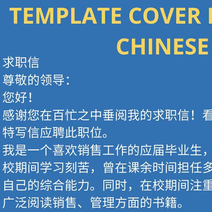 Preview of the Template Cover Letter in Chinese