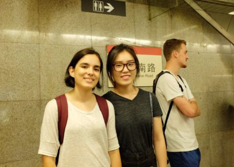 Maria with friends waiting for the metro in Shanghai