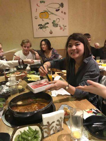 LTL student Inge enjoying Chinese hot pot in Beijing