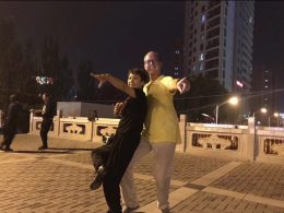 Piotr enjoying a dance in Chengde