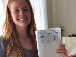 Student Maggie shows off her Hanzi