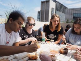 Jean Paul, Katherine, Anna and Cristina enjoying lunch on the rooftop