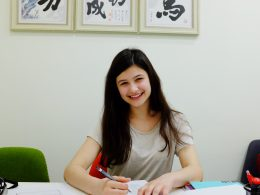 Anthea studying Chinese