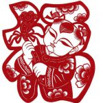 The Chinese character 福 (fú) means 'fortune' or 'good luck'.