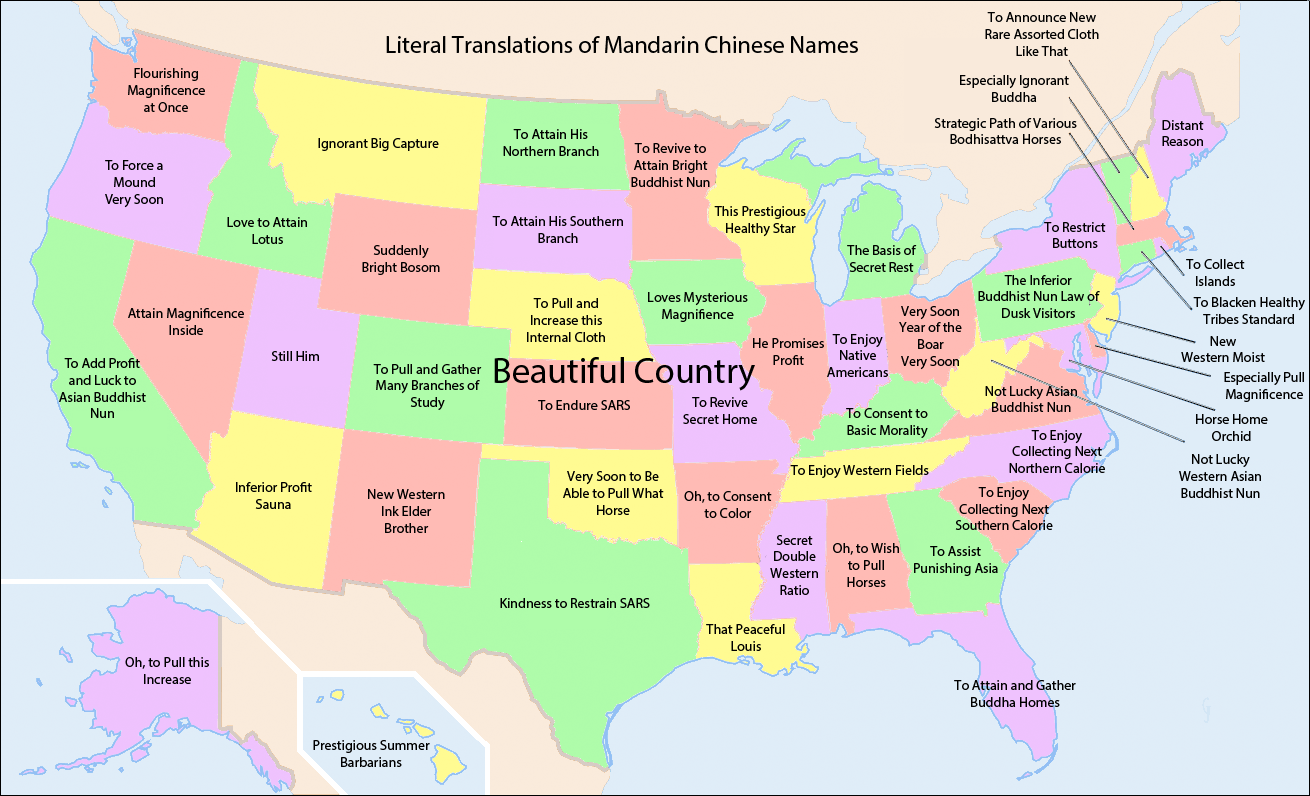 Literal translations of US state names