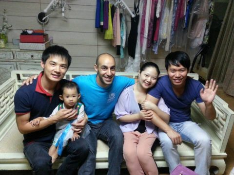 Mohamed with his homestay family in Beijing